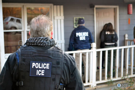 U.S. Immigration and Customs Enforcement agents during a an enforcement operation in Atlanta on Feb. 9, 2017.