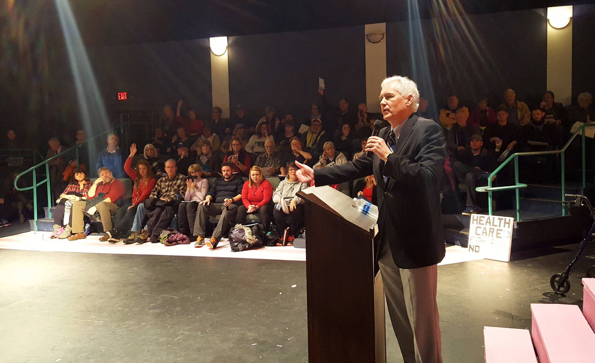 Rep. Tom McClintock (R) speaks at a packed town hall meeting in Roseville on Saturday. Feb. 4, 2016. Katie Orr/KQED