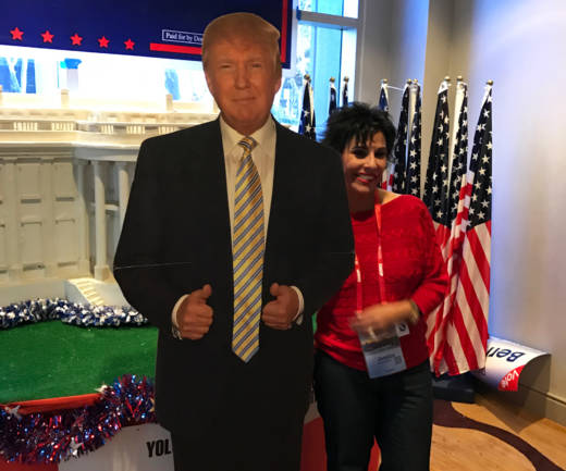 Donald Trump did not appear at the California Republican Party convention, but many there took photos with a cardboard version of him.
