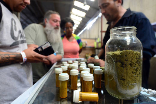 Card-carrying medical marijuana patients attend a cannabis farmer's market in Los Angeles on July 4, 2014.