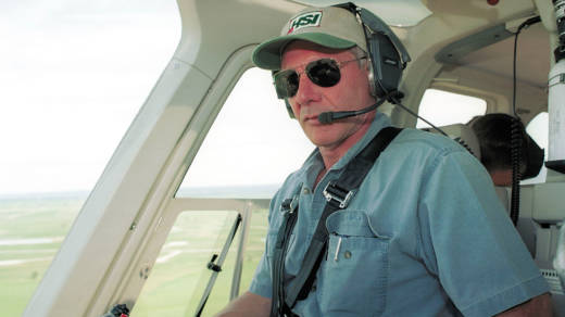 Actor Harrison Ford flying his helicopter in 2001 near Jackson, Wyo.