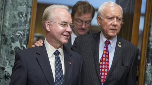 Rep. Tom Price, R-Ga. (L), nominee for Health and Human Services secretary, is seen with Chairman Orrin Hatch, R-Utah, before his Senate Finance Committee confirmation hearing on Jan. 24.