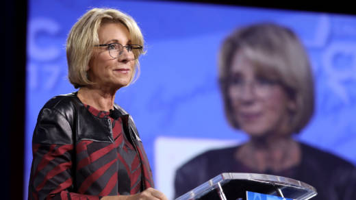 Education Secretary Betsy DeVos addresses the Conservative Political Action Conference at the Gaylord National Resort and Convention Center Thursday in National Harbor, Md.