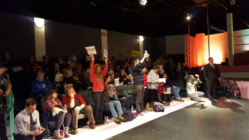 Protesters inside a town hall meeting held by Rep. Tom McClintock (R-Calif.) in Roseville, CA on Saturday February 4, 2016.