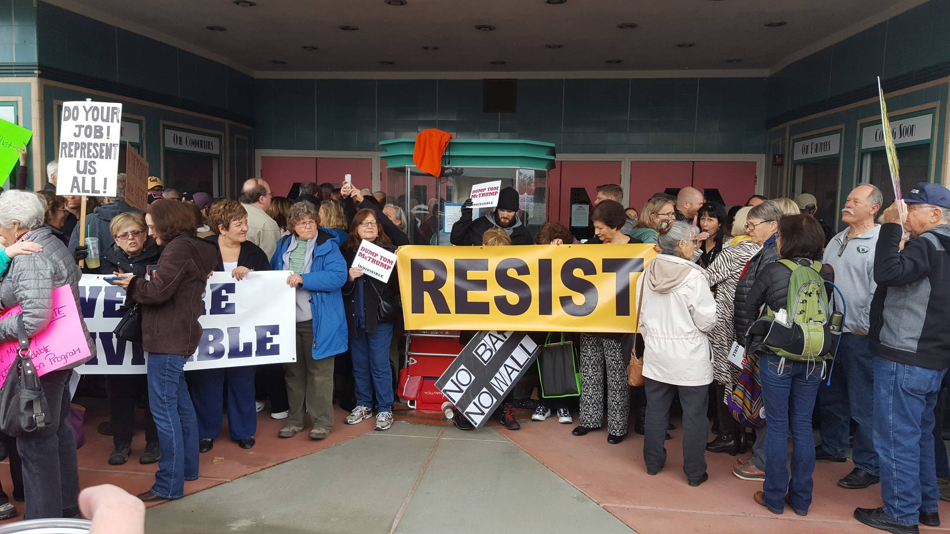 Protesters wait to get into a town hall meeting held by Rep. Tom McClintock (R-Calif.) in Roseville, CA on Saturday February 4, 2017. Katie Orr/KQED