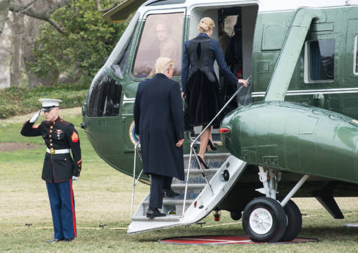 President Donald Trump and his daughter, Ivanka, board Marine One at the White House in Washington, D.C, on Feb. 1, 2017. Trump flew to Dover Air Force Base for the arrival of the remains of William Owens, killed in Yemen during a raid on al-Qaida on the Arabian Peninsula.