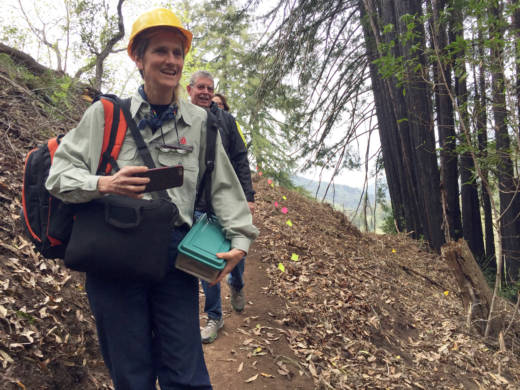 Big Sur locals Carissa Chappellet and Butch Kronlund check out progress on the trail.