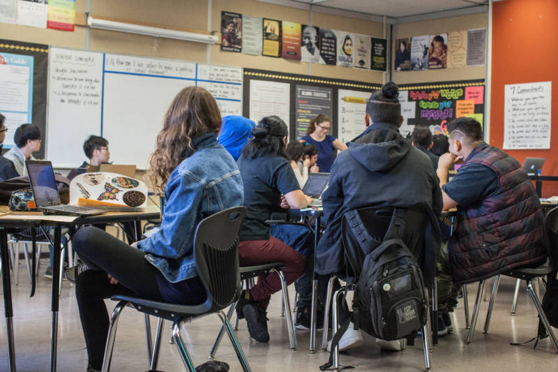 Twelfth-grade English class at San Francisco International High School. While these students come from widely different backgrounds, nearly all have a story about escaping something: war, gang violence, economic hardship.