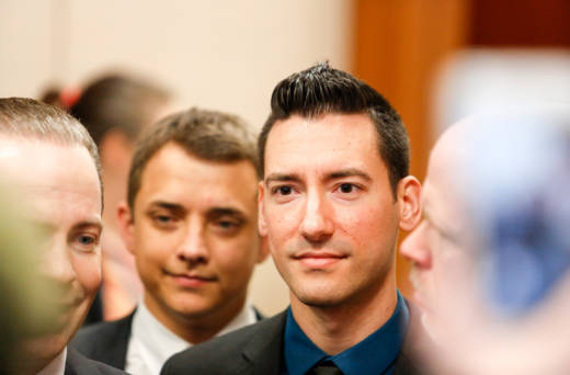 David Daleiden appears after surrendering to authorities on February 4, 2016 in Houston.
