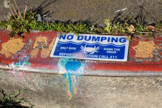 A San Francisco storm drain that has been marked by members of the Mosquito Abatement Courier (MAC) crew after they added a larvicide tablet to prevent mosquitoes from reaching maturity. March 23, 2017.