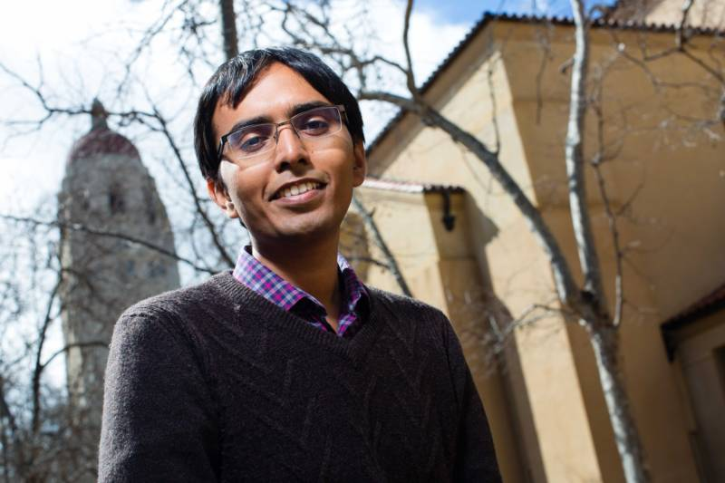 Gokul Gunasekaran was photographed on the campus of Stanford University, his alma mater, on March 6, 2017. He entered the U.S. on a student visa and was able to stay by securing a work visa.