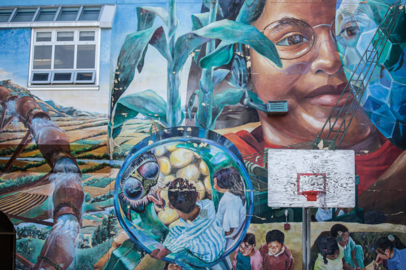 Murals cover the walls of San Francisco International High School, which is in the city's Mission District.