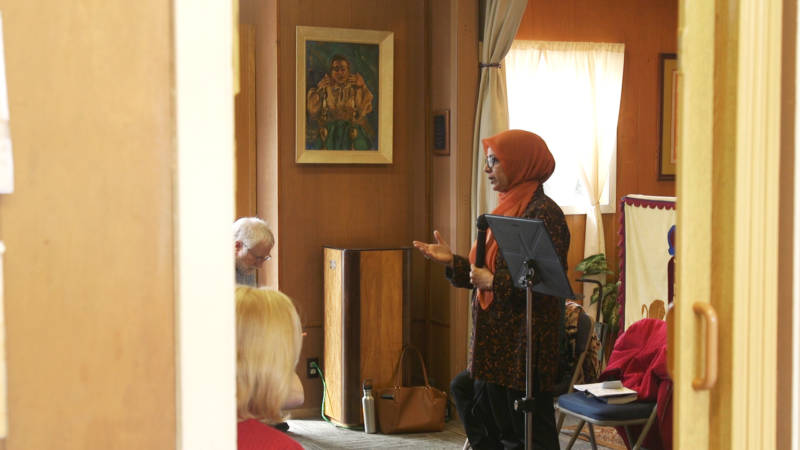 Moina Shaiq talks with communities and individuals to combat Islamophobia. She started the work early last year and travels the nation to speak to people who have questions about her faith.