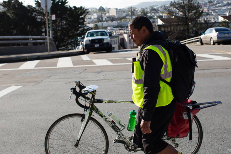 Jake Munoz has worked in the Mosquito Abatement Courier (MAC) program in San Francisco for six seasons, distributing larvicide tablets in city storm drains and marking each finished drain with spray paint. He covered a route near City College of San Francisco on the morning of March 23, 2017.