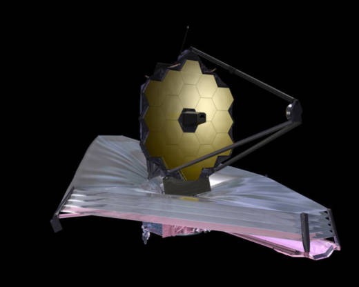 Artist concept of the fully-deployed James Webb Space Telescope. The 18-segment primary mirror (top) is 21 feet in diameter, and the multi-layered sunshield (bottom) is roughly the size of a tennis court.