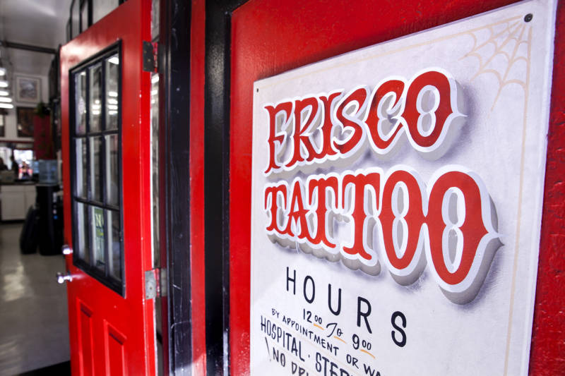 Customers of Frisco Tattoo in the Mission sometimes get local pride tattoos that say 'Frisco' or 'San Franpsycho' in fancy lettering.