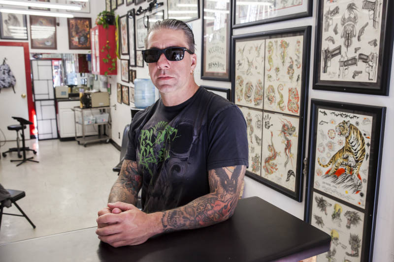 Joey Wilson co-owns the Mission District tattoo shop, Frisco Tattoo. He grew up saying 'Frisco' and has it tattooed on his wrist.