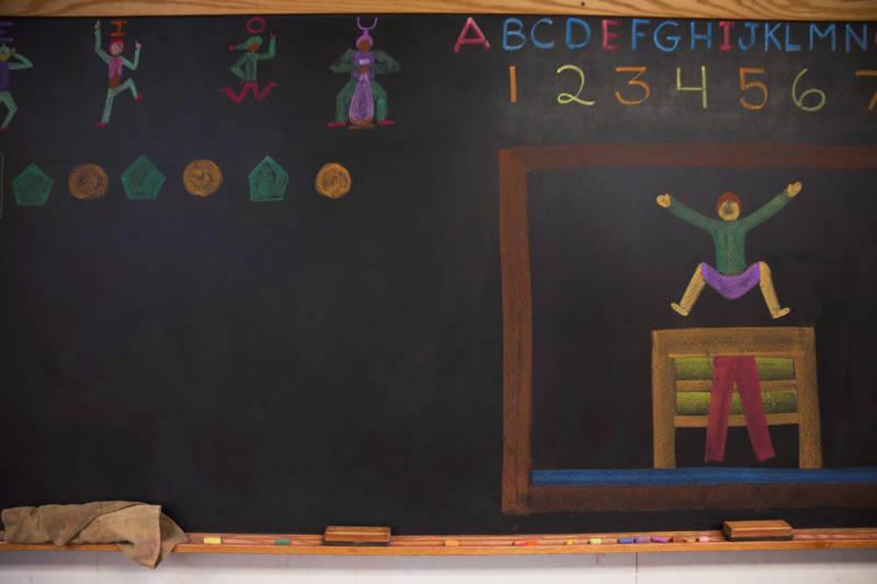 Student classrooms still use blackboards and chalk at the Stone Bridge School, a Waldorf-inspired school in Napa, CA.