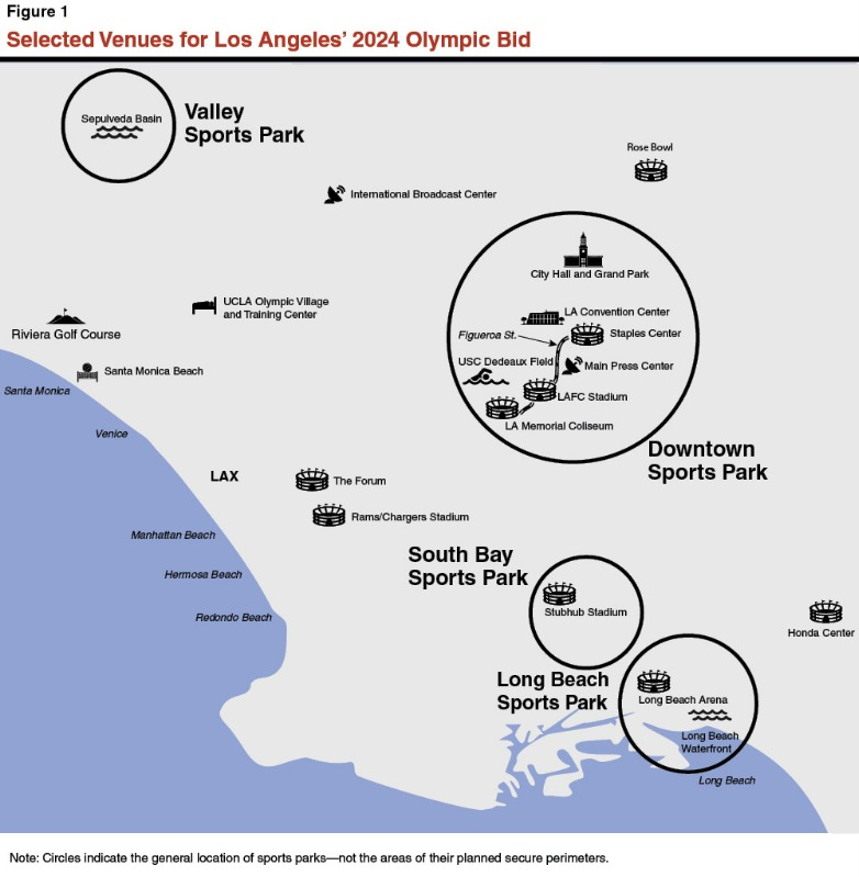 Selected Venues for Los Angeles' 2024 Olympic Bid. Map courtesy of the CA Legislative Analyst's Office.