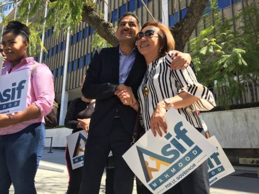Dr. Asif Mahmood, 56, greets supporters outside the federal immigration building in downtown Los Angeles where he announced his candidacy for California lieutenant governor in the November 2018 election.
