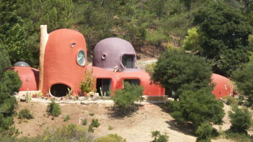 The Flintstone House is a local landmark for drivers heading northbound on I-280.