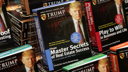"Copies of ""How To Build Wealth,"" a series of nine audio business courses created by Trump University, were on display at a Barnes & Noble store in New York City in 2005."