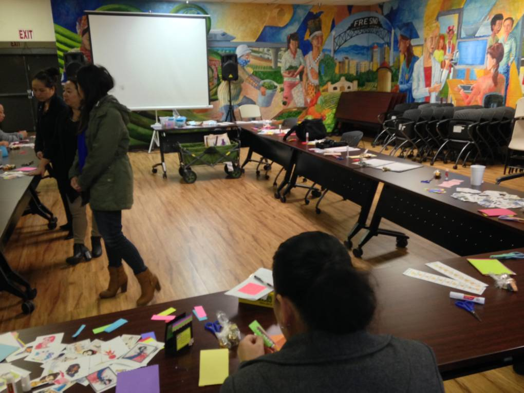 Counselors at the Center for New Americans lead group activities with clients suffering from depression. The clients chose not to be in the picture.