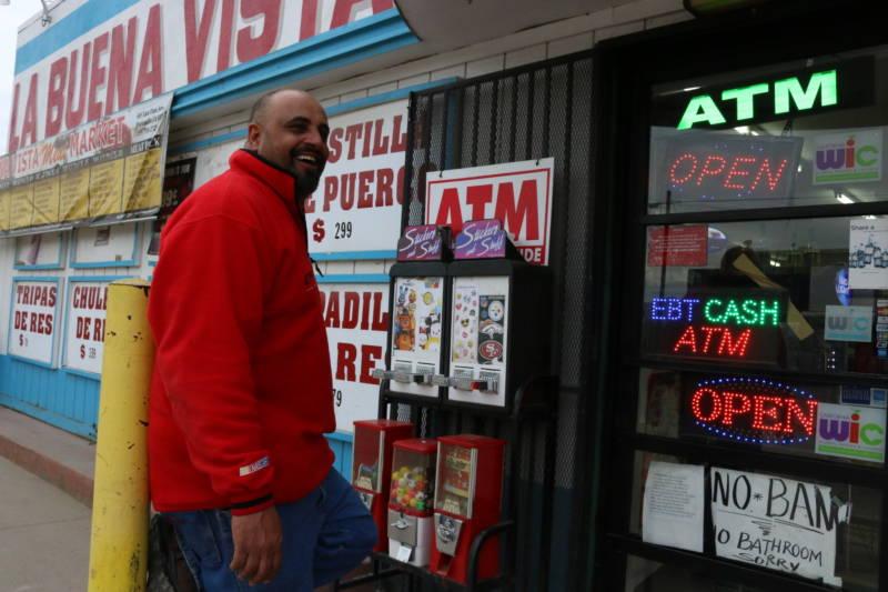 Moe outside La Buena Vista market in East Porterville, where he works.