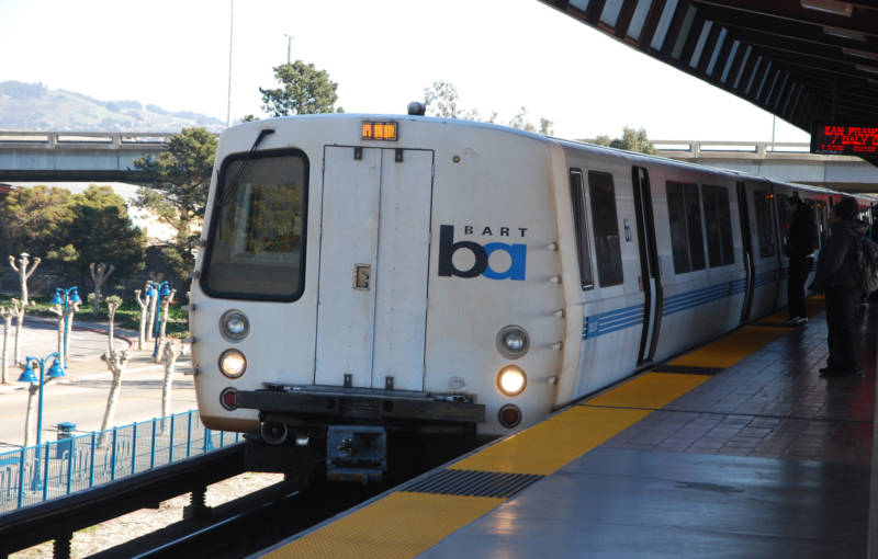 A BART train at Oakland's Coliseum station, where 40 to 60 youths took over a train car and robbed and beat passengers.