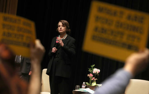 Sen. Dianne Feinstein speaks during a town hall meeting in San Francisco on April 17, 2017.