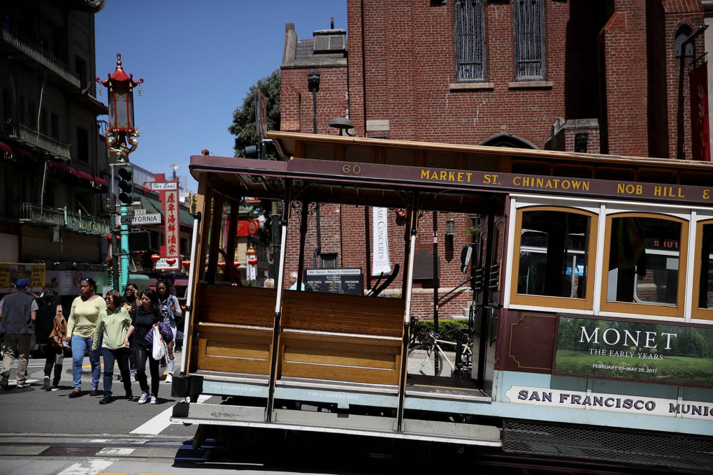 A Cable Car sits idle during a citywide power outage.