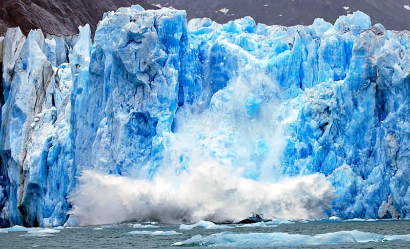 A melting glacier calving.