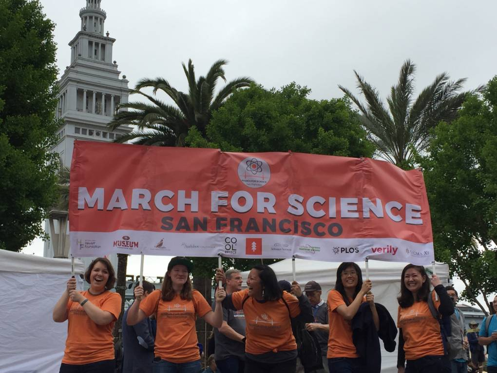 Crowds gather near Pier 39 for the March for Science demonstration in San Francisco.