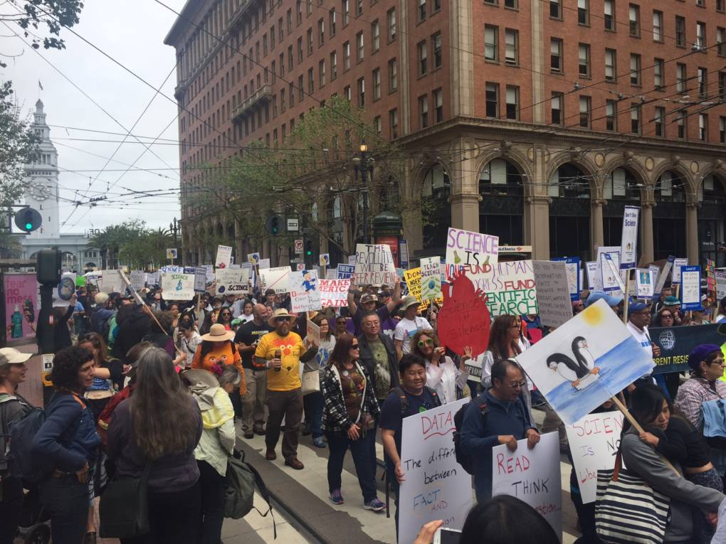 Marchers on Market Street in San Francisco make their way from Justin Herman Plaza to Civic Center.