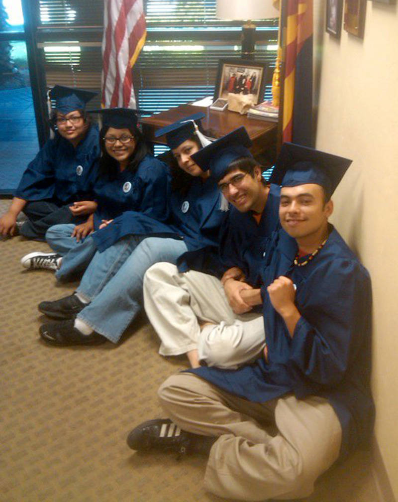 Four undocumented youth, Tania Unzueta, Lizbeth Mateo, Yahaira Carrillo, and Mohammad Abdollahi, accompanied by Raúl Alcaraz, held a sit-in in John McCain's office in Arizona in 2010.