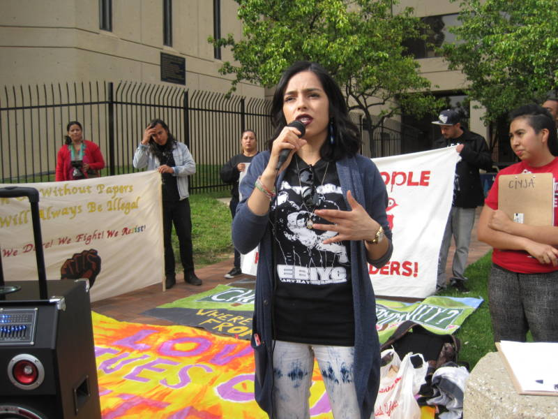 "Blanca Vazquez invites undocumented immigrants to ""come out of the shadows"" at a rally in Oakland in April 2017."