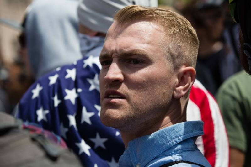 Nathan Damigo, founder of white nationalist group Identity Evropa, helped organize a conservative rally in Berkeley on April 15, 2017. Police arrested at least 21 people after counter-protesters clashed with demonstrators.