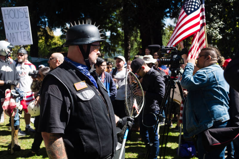 Protesters from the far right converged on Martin Luther King, Jr. Civic Center Park in Berkeley on April 27, 2017. They originally planned their event in support of Ann Coulter, who was scheduled to speak at UC Berkeley, but when her appearance was canceled the protesters held a rally anyway.