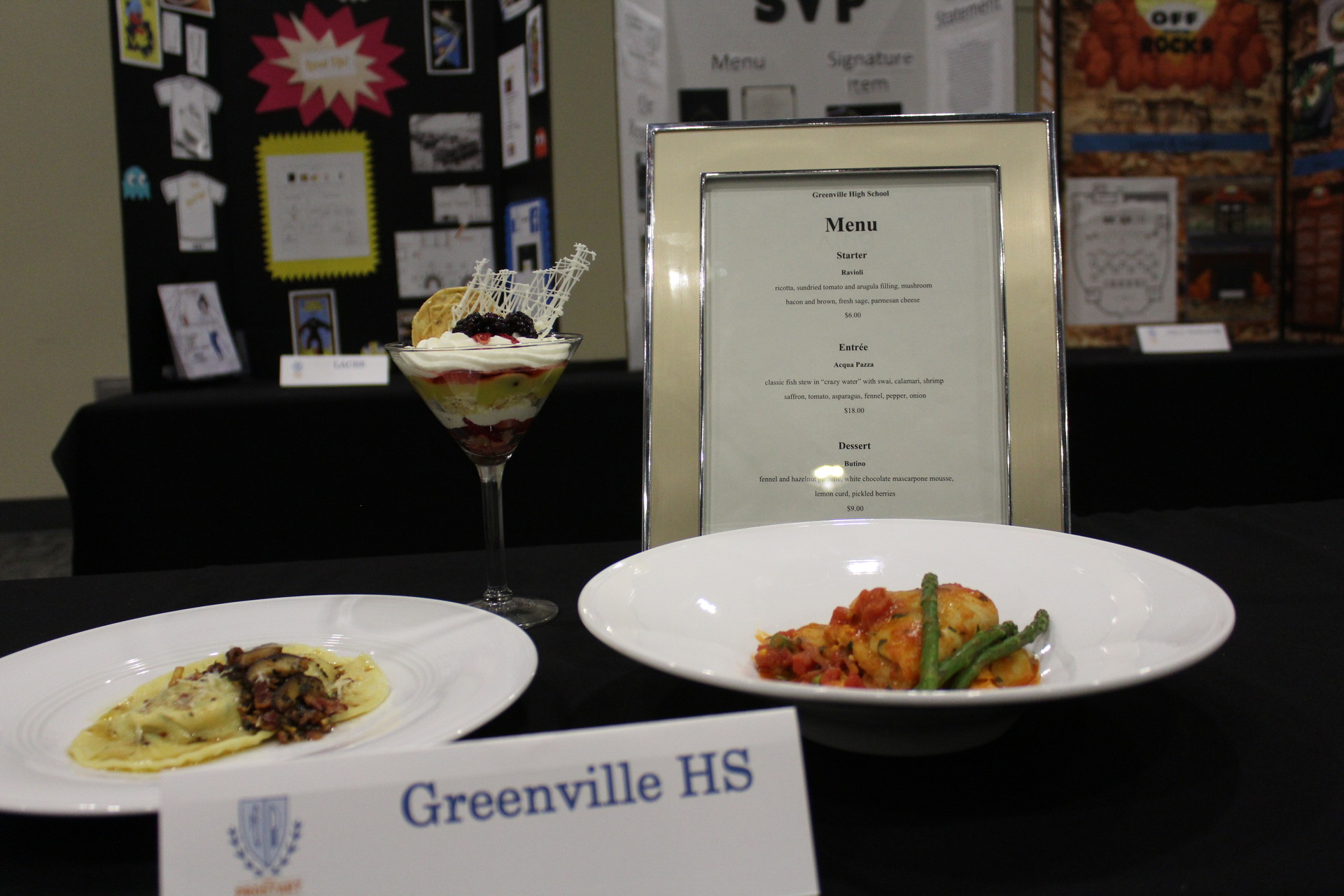 The winning dishes from Greenville High: ravioli in a brown butter sauce with sage, bacon, and shitake mushrooms; All'Acqua Pazza (fish in broth); and a parfait with lemon curd, pickled berries, fennel and a cookie.