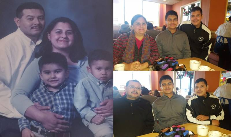 Sergio Herrera's parents came from El Salvador and Mexico. Herrera, a high school student in San Francisco, is pictured center in each photo with his mom, Maria, dad, Sergio, and brother, Joshua.