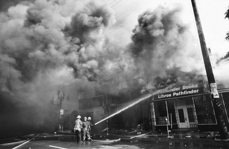 The Pathfinder bookstore on Pico Blvd. burns in the Pico-Union area of Los Angeles during the riots in 1992.