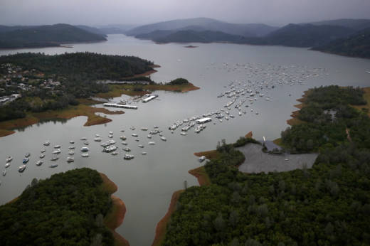 Bidwell Marina at Lake Oroville in April. After record rainfall and snow in the mountains, much of California's landscape has turned from brown to green and reservoirs across the state are near capacity.