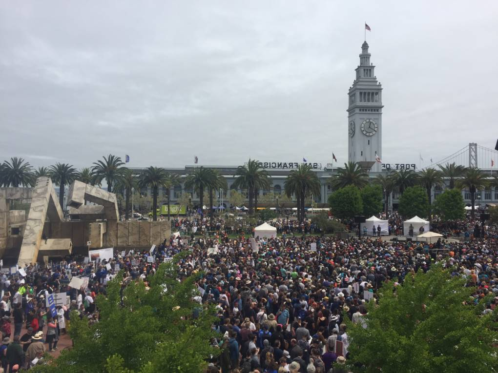 A view of the crowd at Justin Herman Plaza in San Francisco.