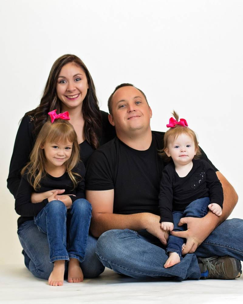 Morgan Kemple and Robert Reagan with their two daughters. Reagan was killed on July 26, 2016 when his bulldozer toppled down a hill and pinned him underneath. This photo was posted to a GoFundMe page on behalf of Morgan Kemple.