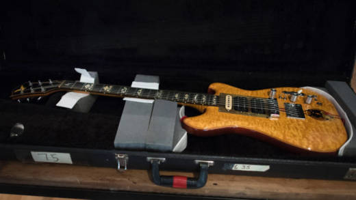 One of Grateful Dead legend Jerry Garcia's most famous guitars, Wolf, is displayed at Guernsey's Auction house May 12, 2017 in New York. The custom made electric guitar is going back on auction where it could fetch more than USD one million to back a civil rights group.