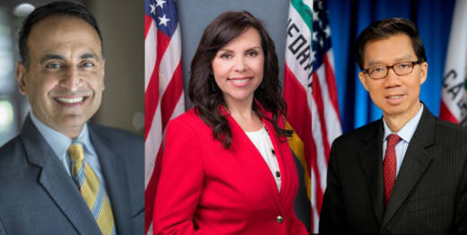 Assemblyman Ash Kalra (L), Assemblywoman Blanca Rubio and Assemblyman Ed Chau