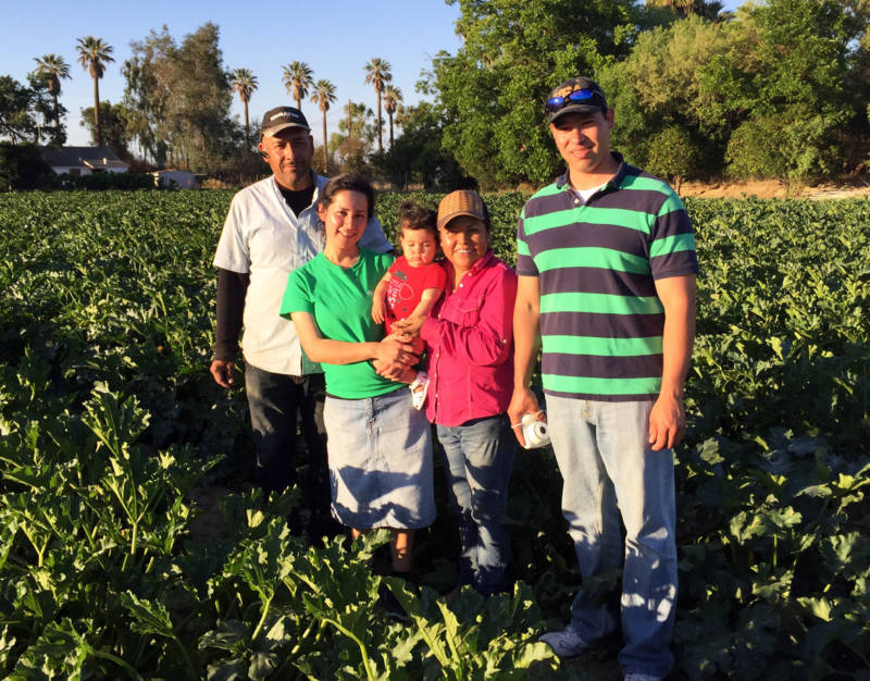 Yuriana Aguilar with her family in their squash field: (L-R) Arturo Aguilar, Yuriana and her daughter Victoria, Ana Torres, and Yuriana's husband, Ismael. Yuriana is the first undocumented student to graduate with a Ph.D. from UC Merced.