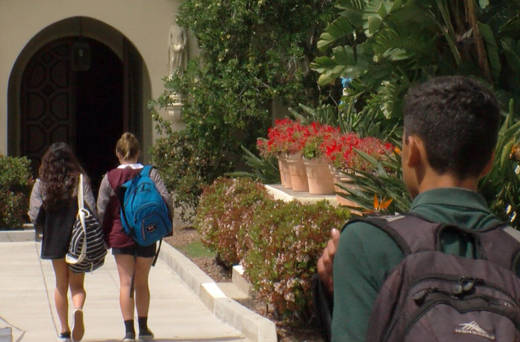 Students walk on the campus of The Bishop's School in La Jolla.