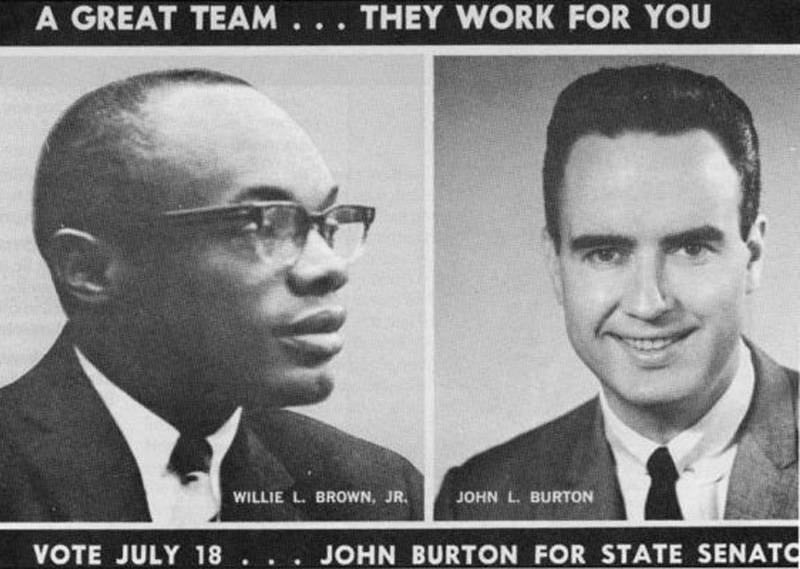Willie Brown and John Burton collaborated on this campaign flier when Burton ran unsuccessfully for a state Senate seat in 1967.