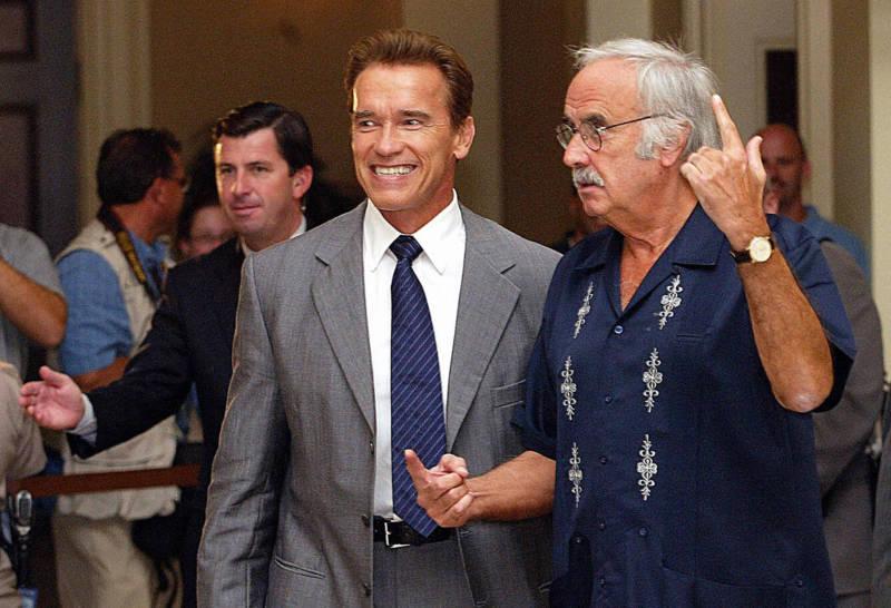 John Burton with then Governor-Elect Arnold Schwarzenegger in 2003.